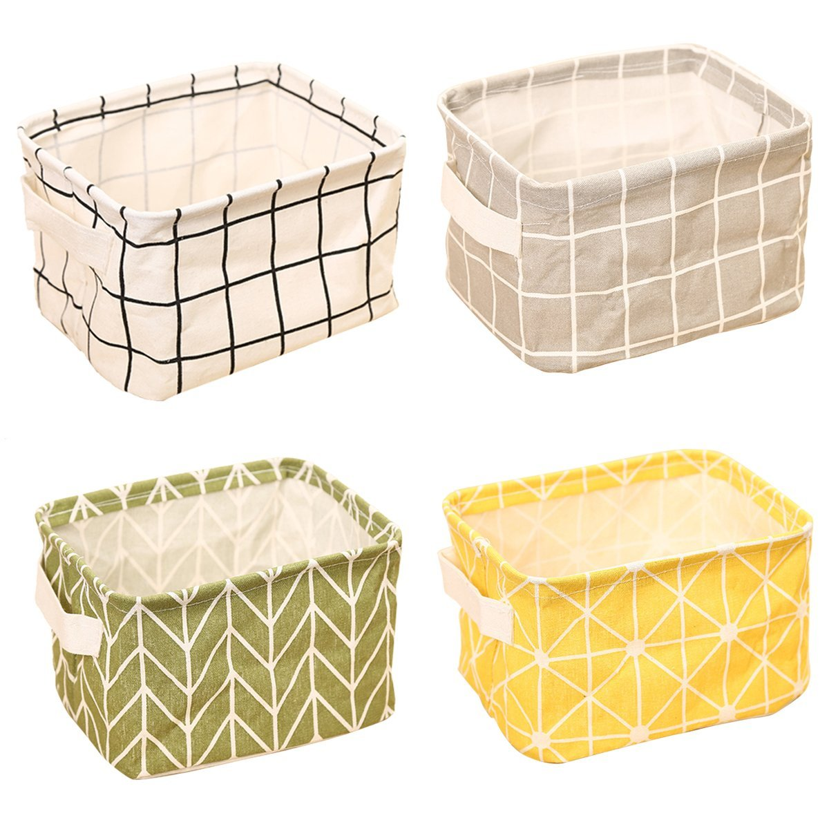ZhengYue Storage Box Fabric Storage Cubes Linen and Cotton Organizer Water-Proof Fabric Storage Basket Organizer with 2 Hands on Both Side 4 Packs