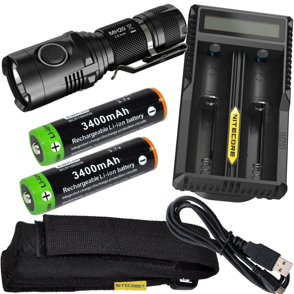 Nitecore MH20 CREE XM-L2 U2 LED 1000 Lumen USB Rechargeable Flashlight, 2 X EdisonBright EBR34 18650 3400mAh rechargeable Li-ion batteries, Nitecore UM20 USB charger bundle by EdisonBright