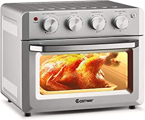 COSTWAY Toaster Oven Countertop, 7-in-1 Convection Oven with Air Fry, Bake, Broil, Toast, Dehydrate, Pizza, Warm Function, 1550W Air Fryer Toaster Oven with Timer, Temperature Control, 5 Accessories, Sliver