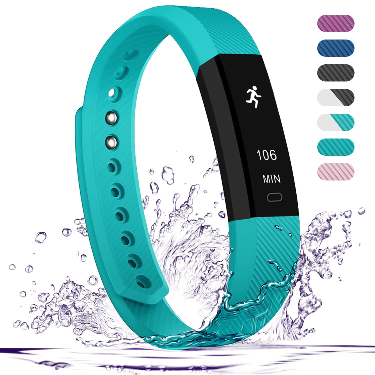 Teslasz Fitness Tracker, Sleep Monitor Calorie Counter Pedometer Sport Activity Tracker for Android and iOS Smart Phone,Teal