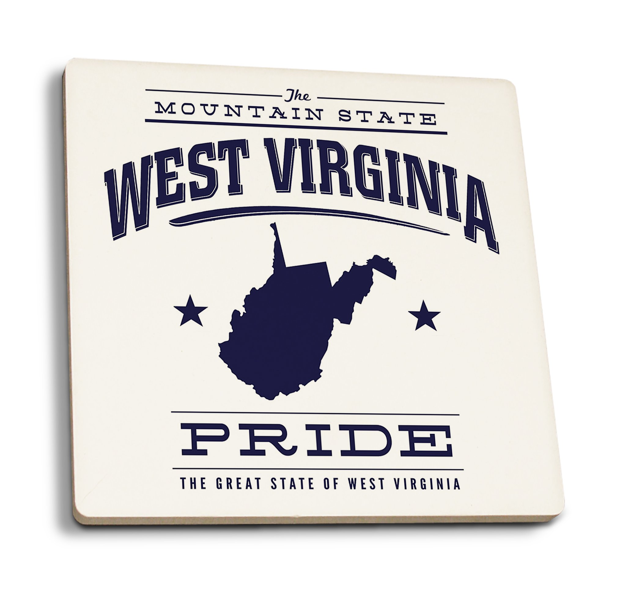 Lantern Press West Virginia State Pride - Blue on White (Set of 4 Ceramic Coasters - Cork-Backed, Absorbent)