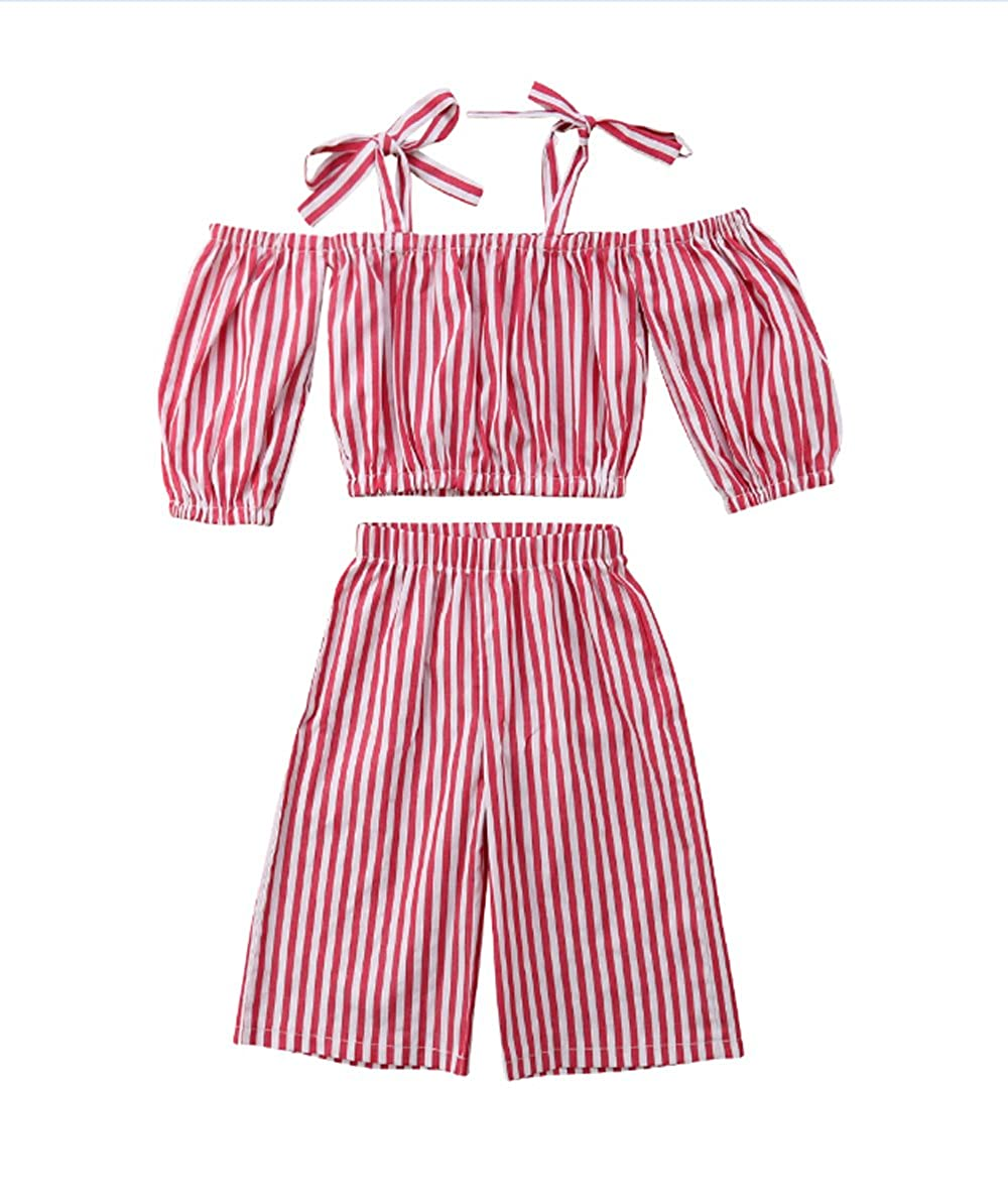 Toddler Girl Stripe Off-Shouler Tube Top + Pant Set Outfit