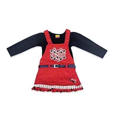 b84e96e8f3a53 Kid's Care Party Wear Baby Girl Infant Denim Jeans Frock Dress and Leggings  Combo Set for
