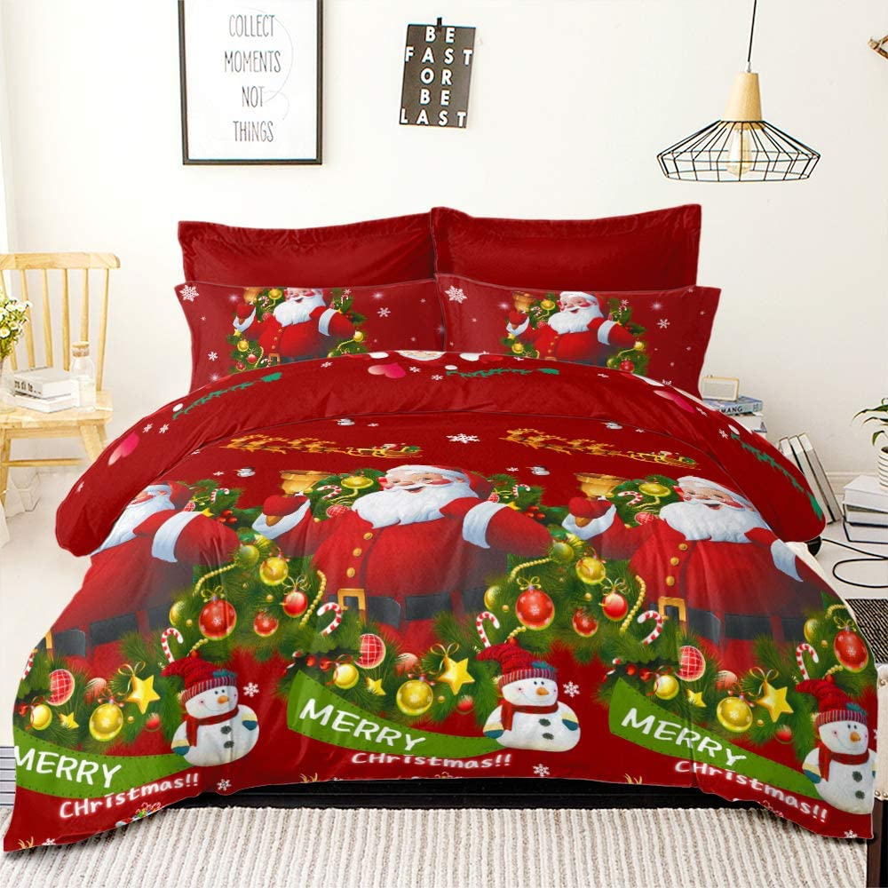 YC Merry Christmas Bedding Set Snowman with Hat Happy Santa Claus Comforter Covers Snowflake Winter Cover Sets, King Size Duvet Cover