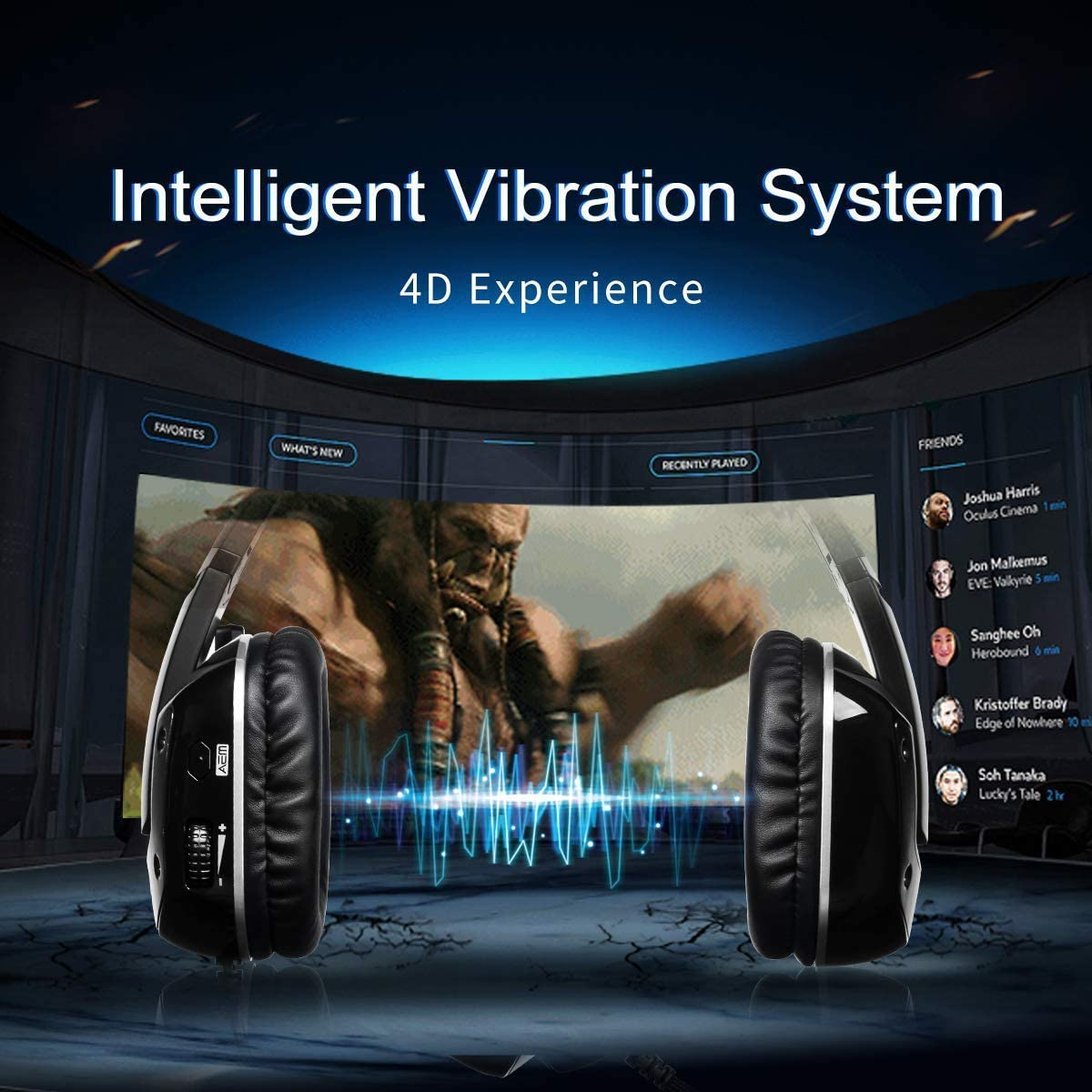 GSUMMER USB Gaming Headset Headset Computer Headset 7.1 Virtual Surround USB Game Headphones Ear Head Bass Headphones