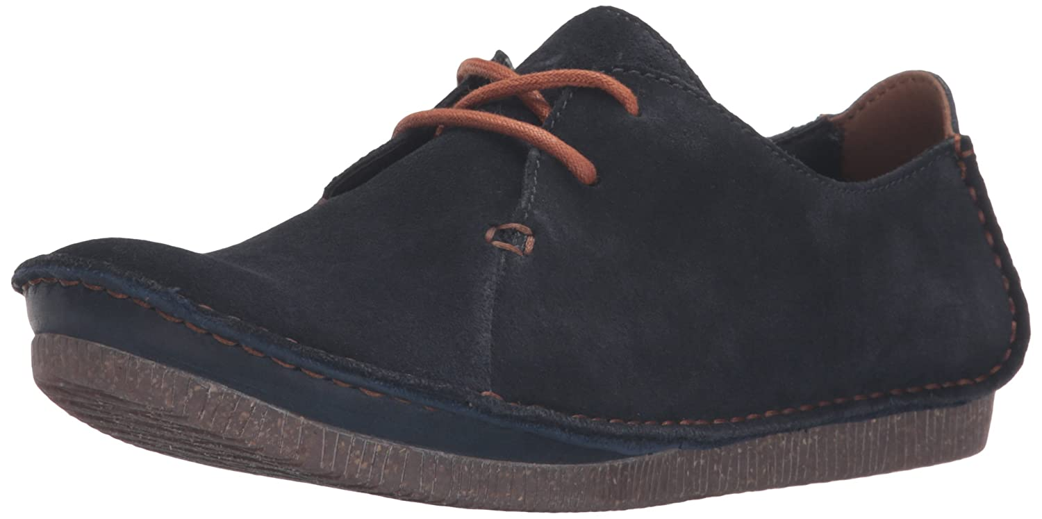 CLARKS Women's Janey Mae Oxford B0195SCUTG 8.5 B(M) US|Navy Suede