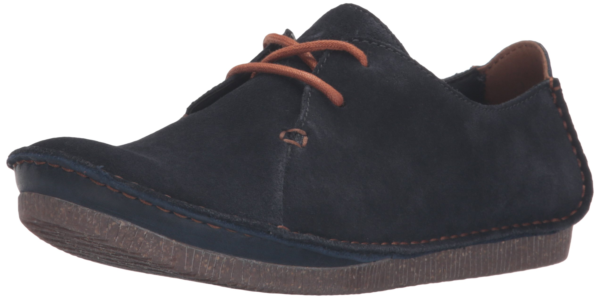 Clarks Women's Janey Mae Rubber Oxford, Navy Suede, 9.5 M US