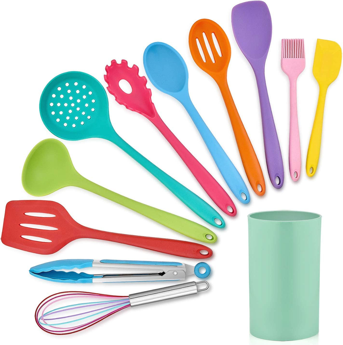 LIANYU 12-Piece Silicone Kitchen Cooking Utensils with Holder, Kitchen Tools Set Include Slotted Spatula Spoon Turner Ladle Tong Whisk, Dishwasher Safe, Multi Colored