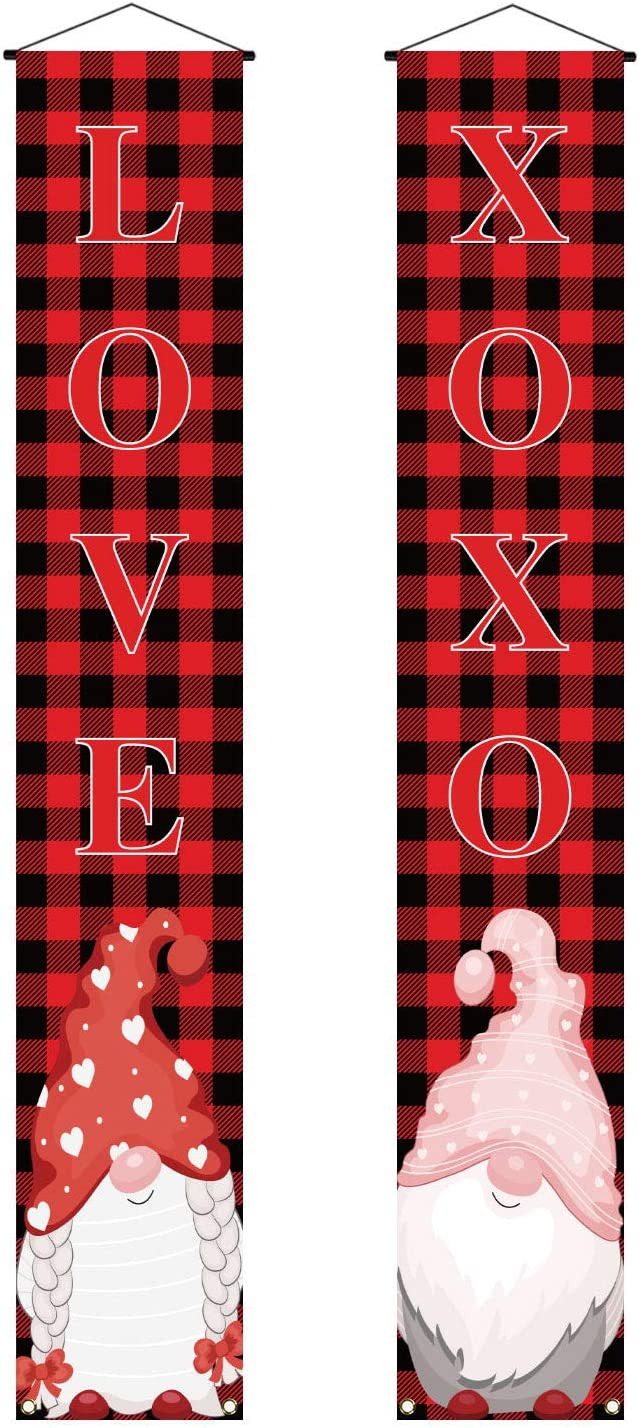 Valentines Day Decoration Banner Swedish Gnome Porch Sign Black and Red Buffalo Check Plaid Valentine Decor Outdoor Front Porch Door Yard Welcome Sign