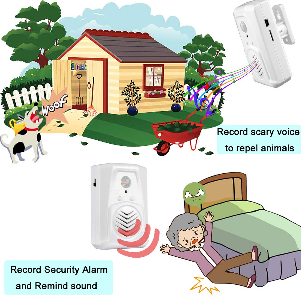 Security Reminder Garage Door Alert Infrared Motion Sensor Activated Voice Speaker with Recordable Built-in Microphone for Shop Sale Greeting Visitor Door Chime