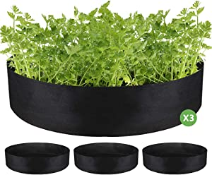Nardo Visgo Fabric Raised Garden Beds 3Pcs 10 Gallon Plant Grow Bags for Vegetables Round Non-Woven Fabrics Planting Bags Planter Pot for Flowers Vegetables Plants,Perfect for Small Space