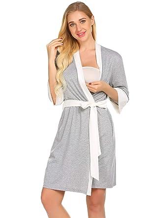 04825e69ba4 Ekouaer Nursing Robe,Maternity Gown Breastfeeding Dress (Grey, Small)