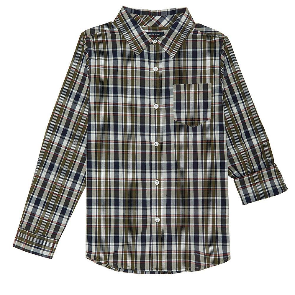 French Toast Big Boys' Long Sleeve Woven Yarn-Dye Shirt, Olive, 8