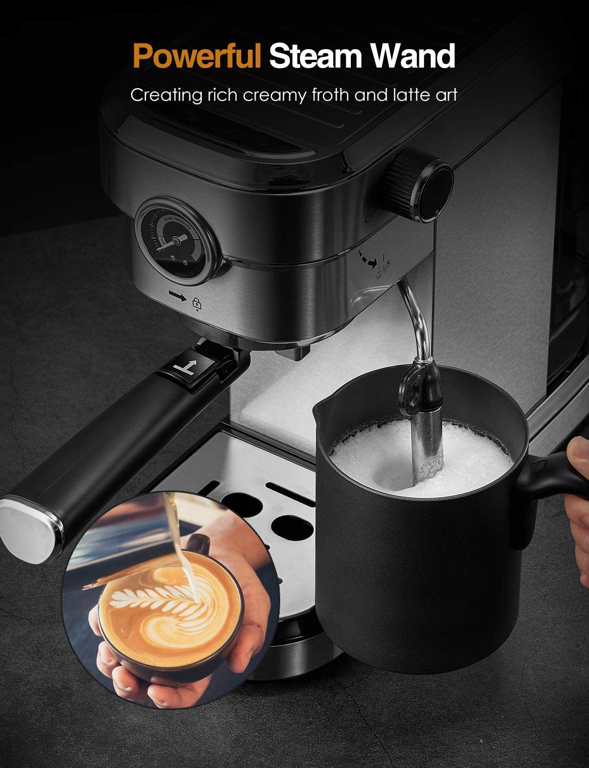 Cappuccino and Latte Brewsly 15 Bar Espresso Machine Professional Coffee Machine for Espresso Stainless Steel Compact Espresso Maker with Milk Frother Wand