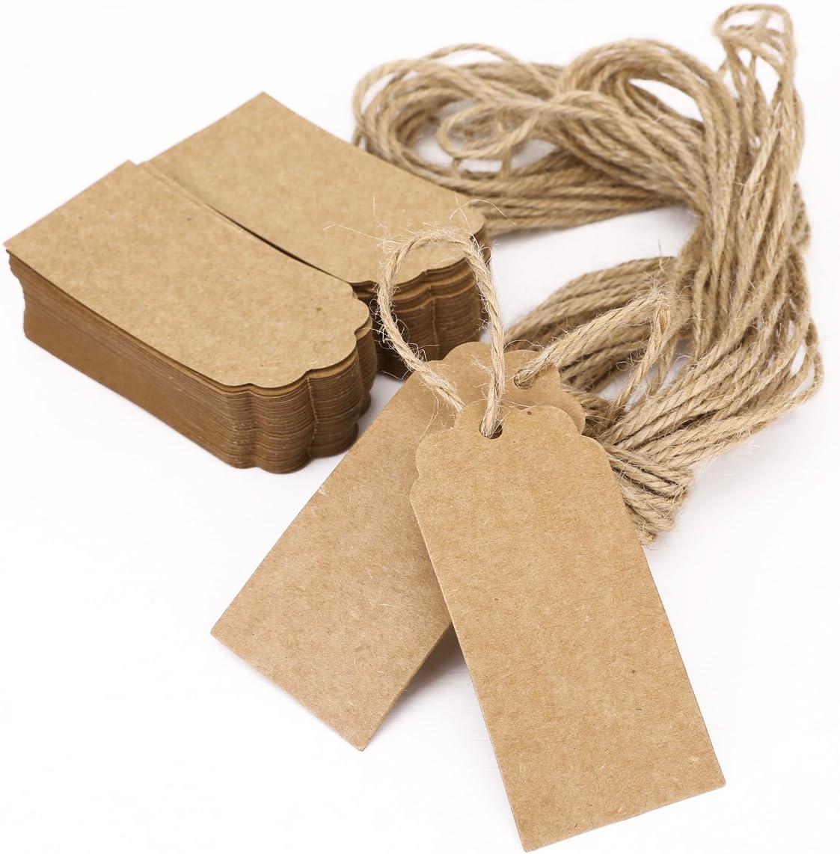 100pcs papier kraft cadeau cartes vierges Hang TAGS bijoux étiquettes Tag Craft Décoration