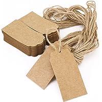 100Papier vierge Kraft Marron Étiquettes Cadeau pour fête