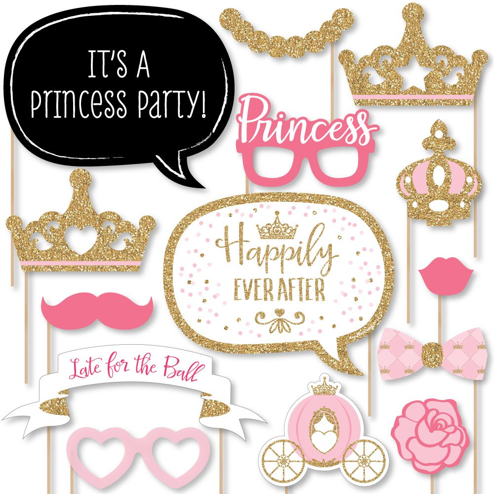 Big Dot of Happiness Little Princess Crown - Pink and Gold Princess Baby Shower or Birthday Party Photo Booth Props Kit - 20 Count by Big Dot of Happiness
