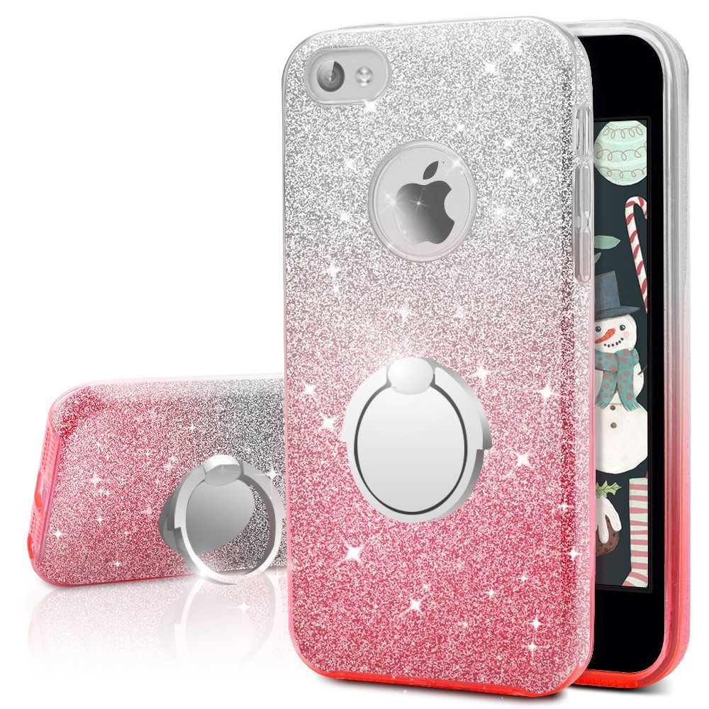 factory authentic 93fb1 bca79 iPhone 4S Case, iPhone 4 Case, Silverback Girls Bling Glitter Sparkle Cute  Phone Case with 360 Rotating Ring Stand, Soft TPU Outer Cover + Hard PC ...