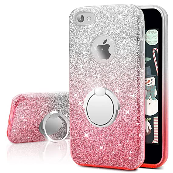factory authentic 9b490 533e1 iPhone 4S Case, iPhone 4 Case, Silverback Girls Bling Glitter Sparkle Cute  Phone Case with 360 Rotating Ring Stand, Soft TPU Outer Cover + Hard PC ...