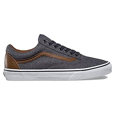 Amazon.com | VANS Men's Old Skool Denim/Brown Leather Fashion ...