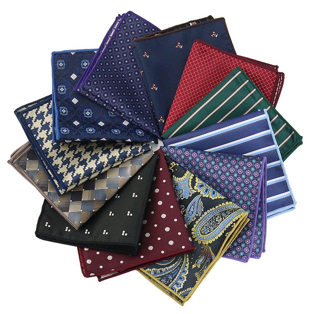Mantieqingway Print Handkerchief Paisley Hanky Polyester Pocket Square 10PCS