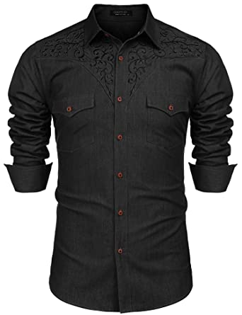 6205e7cf6 COOFANDY Men's Long Sleeve Floral Embroidered Shirts Western Snap Denim Button  Down Shirt at Amazon Men's Clothing store: