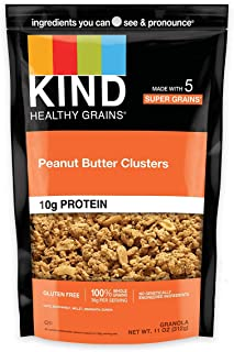 product image for KIND Healthy Grains Clusters, Peanut Butter Whole Grain Granola, 10g Protein, Gluten Free, 11 Ounce (Pack of 6)
