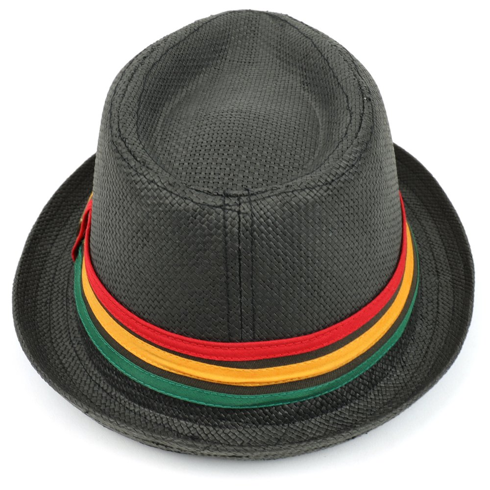 Trendy Apparel Shop Paper Straw Woven Fedora Hat With Rasta Band
