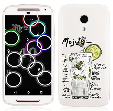 JAMMYLIZARD | Carcasa Para [ Motorola Moto G / Moto G2 (2ª Gen.) ] Transparente De Silicona Sketch Back Cover, MOJITO
