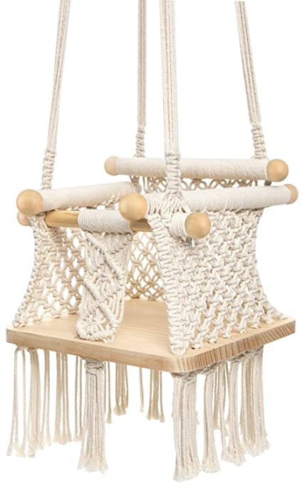Beige Color Cotton Rope Weaved Babys Indoor Playroom Nursery Decor for Baby Girl//Boy Cotton Knit Baby Crib Hanging Swing Seat Hammock Chair for Infant