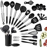 Juego de utensilios de cocina, 36 utensilios de cocina de silicona con soporte, resistentes al calor, antiadherentes, sin BPA
