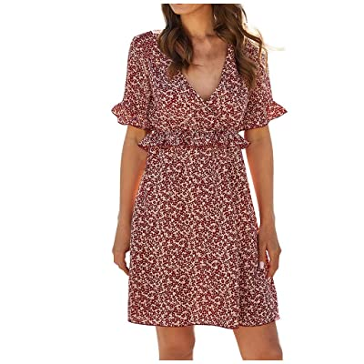 Sttech1 Women's Floral Vintage Dress Half Sleeves V-Neck Casual Summer Short Dresses with Lace Girdle: Clothing