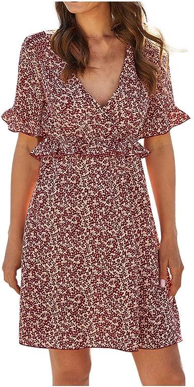 Womens Floral Short Sleeve Shift Dress Ladies Summer Beach Backless Sun Dresses