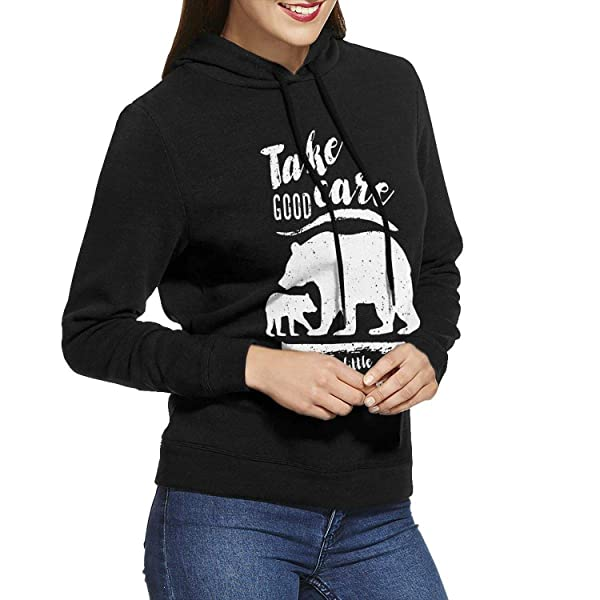 Zpanter Take Good Care Of My Little Bear Casual Hooded With Drawstring Black