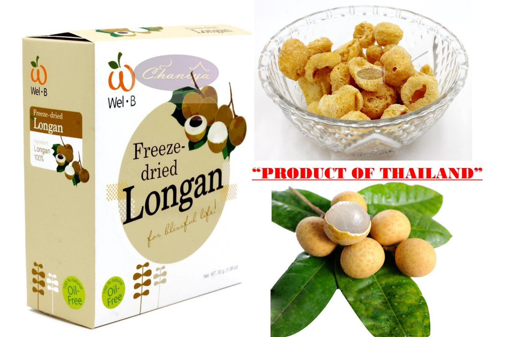 Crispy freeze dried fruit Longan Healthy Snack 100% all Natural Oil-Free 30 g. (1.06 Oz) by Freeze Dried Fruits