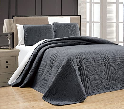3-Piece King Gray Linen Plus Collection Oversize Bedspread Coverlet Set