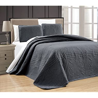 3-Piece Grey Oversize  Stella Grande  Bedspread QUEEN / FULL Embossed Coverlet set 106 by 100-Inch