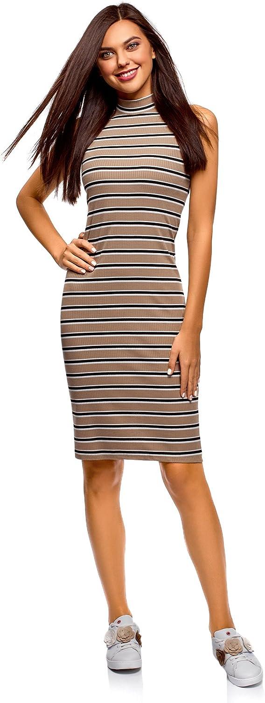 oodji Ultra Damen Enges Kleid mit Stehkragen
