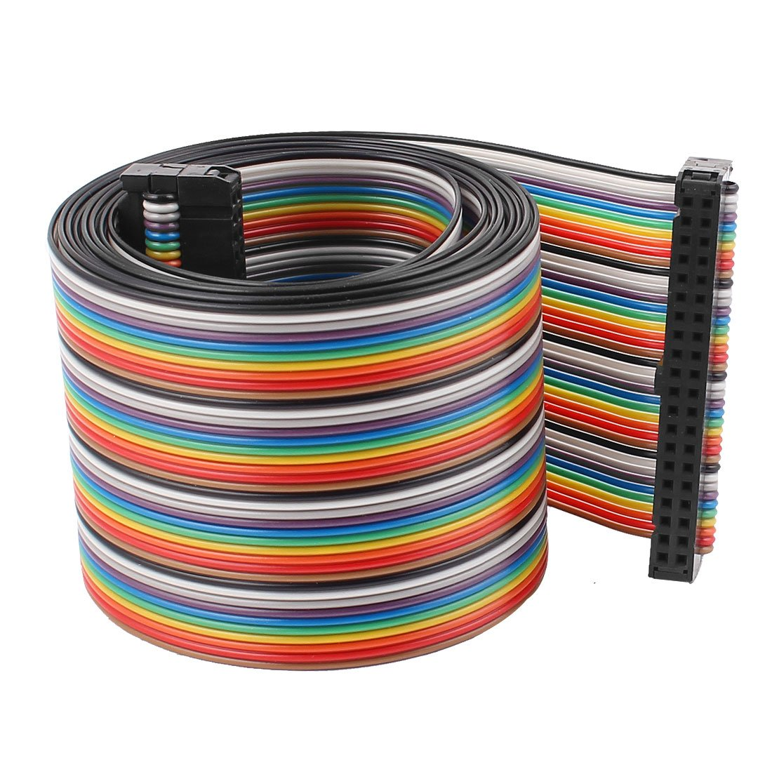 Uxcell a15040700ux0316 4.8ft 40 Pin 40 Way F/F Connector IDC Flat Rainbow