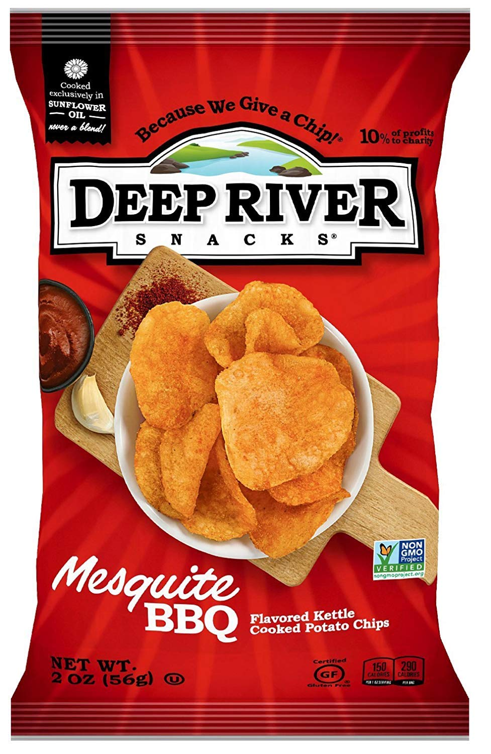 Deep River Snacks Mesquite BBQ Kettle Cooked Potato Chips, 2-Ounce (Pack of 24) (4 pack) by Deep River