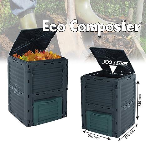 Cubo de basura, 300 L, para residuos orgánicos, para jardín, respetuoso con el medio ambiente: Amazon.es: Jardín