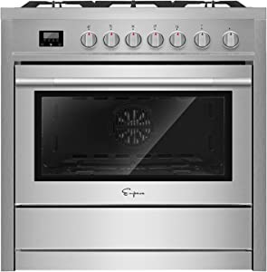 "Empava 36"" Slide-In Freestanding Single Oven Ga with 5 Sealed Burner Cooktop in Stainless Steel, 36 Inch"