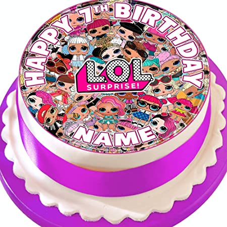 LOL ROUND 7.5 INCH EDIBLE CAKE TOPPER