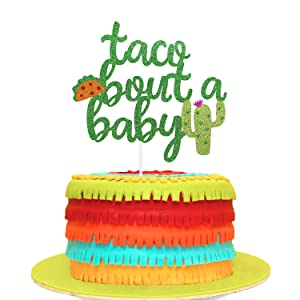 Taco Bout a Baby Cactus Cacti Cake Topper Green Glitter Fiesta Festive Party Supplies Baby Shower Decor