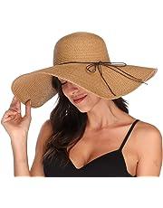 GMGD Womens Big Bowknot Straw Hat Floppy Foldable Roll up Beach Cap Sun Hat UPF 50+