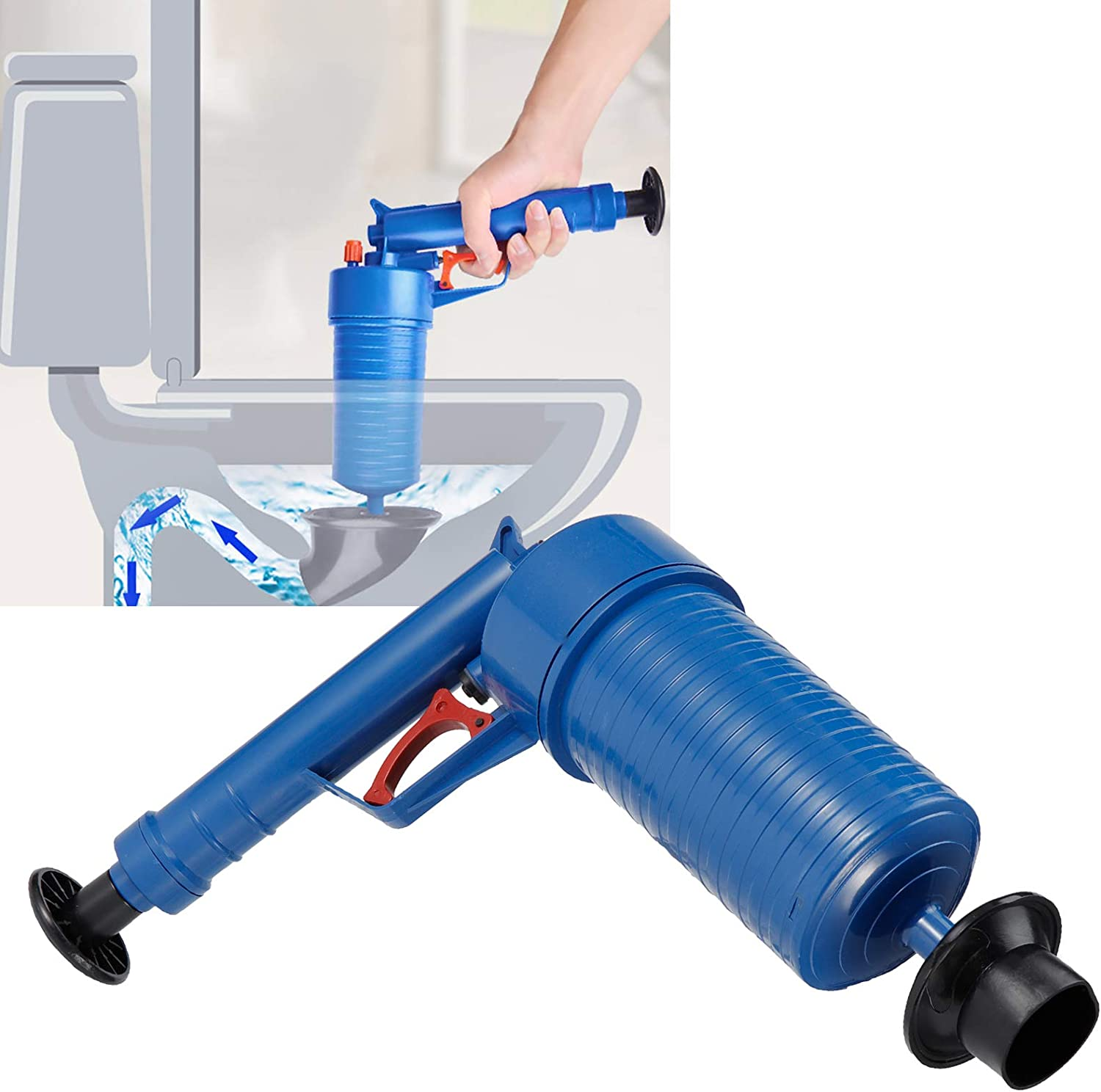 Manual Practical Anti‑Shallow Blue for Bathroom Clogged Pipe Kitchen FOTABPYTI Clog Remover Pipe Plunger