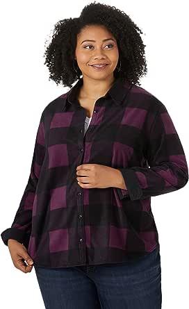 Riders by Lee Indigo Womens Plus Size Long Sleeve Button Front Pattern Fleece Shirt Long Sleeve Shirt