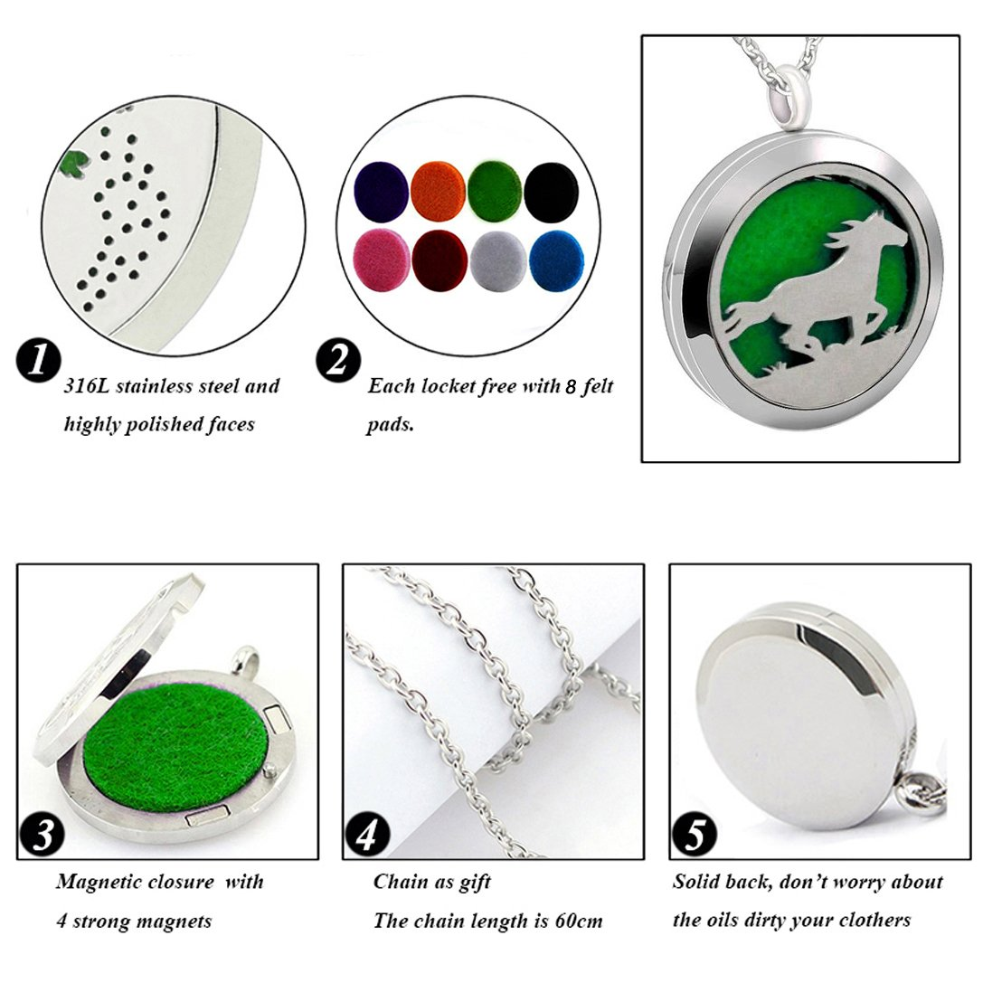 Popeoiuh Essential Oil Diffuser Necklace,Perfume Stainless Steel Aromatherapy Horse Locket Pendant with 24'' Chain & 8 Pads, Jewelry Gift for Women Men Boys Girls Kids by Popeoiuh (Image #4)