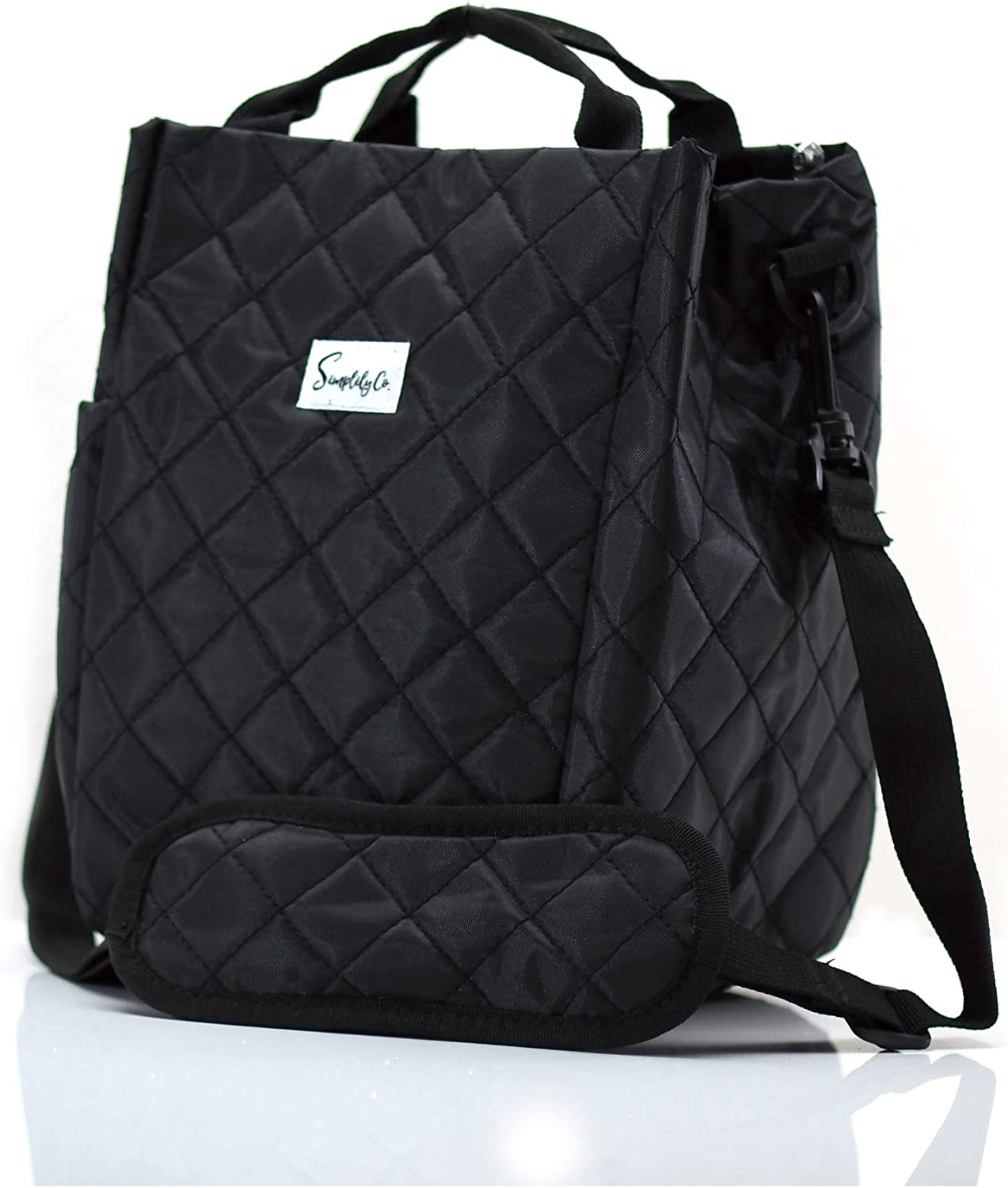 Simplily Co. Insulated Lunch Bag with Shoulder Strap and Drink Side Pocket (Black (9 inches tall))