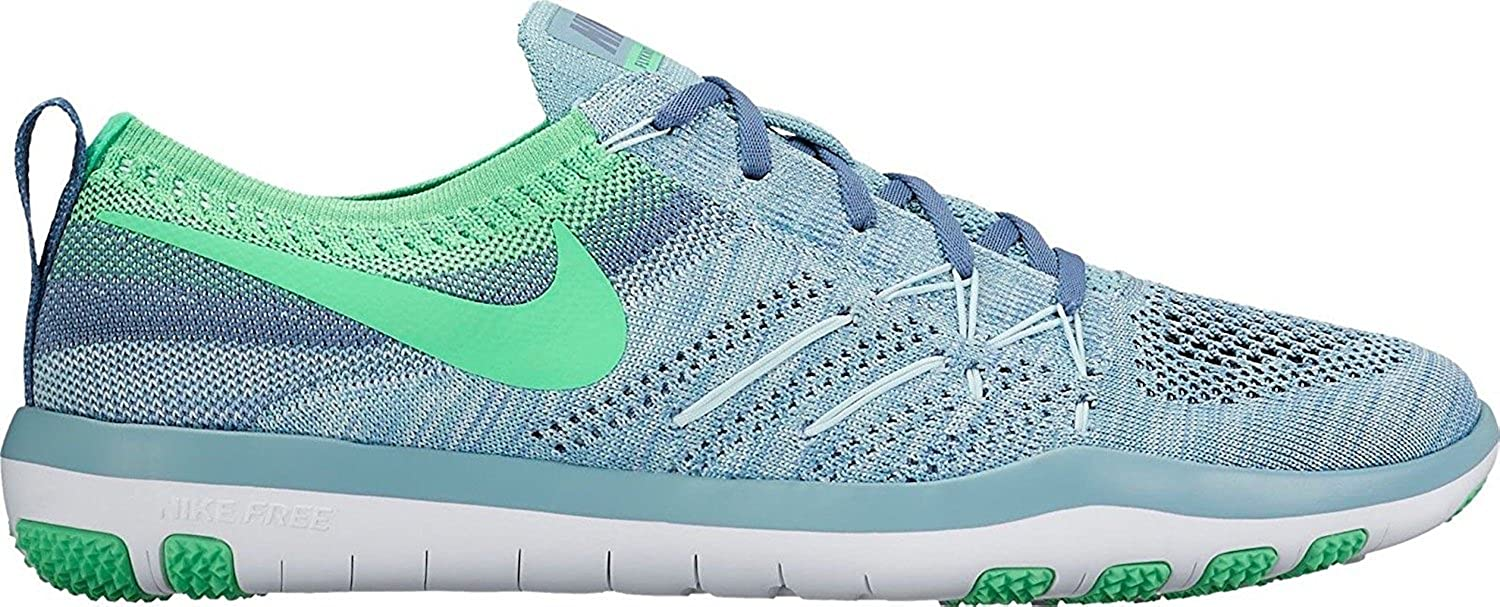 Nike Womens Free TR Focus Flyknit Mica Blue/Electro Green 844817 ...